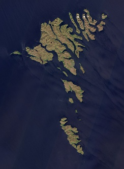Satellite image of the Faroe Islands