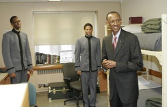 Rwandan President Kagame visits his son's room during Plebe-Parent Weekend
