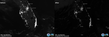 Nighttime satellite images of Florida before (left) and the night after (right) Hurricane Irma, highlighting the extensive loss of grid (mains) electricity