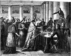 Leaders of the Catholic Church taking the civil oath required by the Concordat