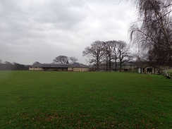 The cricket field with the clubhouse in the background.
