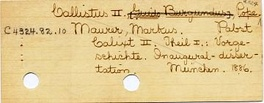 "Catalog card. In the ""Harvard system"", C denotes Church History and Theology."