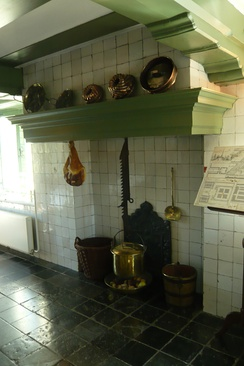 Dutch style kitchen hearth in Hofwijck mansion, Voorburg, Netherlands.