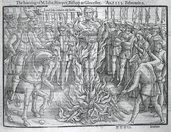 Protestant Bishop John Hooper was burned at the stake by Queen Mary I of England