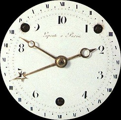 Clock dial displaying both decimal and duodecimal time
