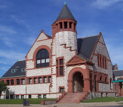 The Hoyt Public Library, pictured here in June 2006, was built in 1887 by Van Brunt & Howe of Boston.