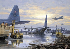 Naval Air Station Joint Reserve Base New Orleans (Alvin Callender Field), Belle Chasse. Louisiana, 1 September 2005. (Gil Cohen, In Katrina's Wake, National Guard Heritage Painting.)