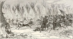 U.S. cavalry attacking an Indian village