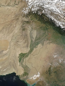 A satellite image showing the topography of Pakistan