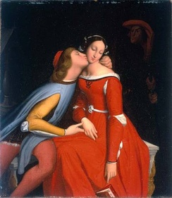 Paolo and Francesca, whom Dante's Inferno describes as damned for fornication. (Ingres, 1819)
