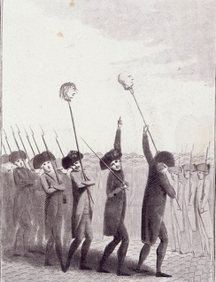 "Engraving, c. 1789: militia hoisting the heads of Flesselles and the Marquis de Launay on pikes. The caption reads ""Thus we take revenge on traitors""."