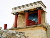 Minoan columns at the West Bastion of the Palace of Knossos
