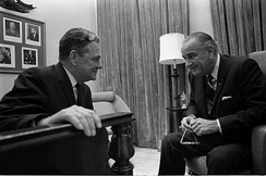 President Lyndon B. Johnson with House Majority Whip Boggs
