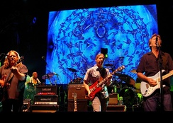 Clapton (right) performing with the Allman Brothers Band at the Beacon Theatre, New York City in March 2009
