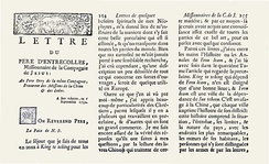 Part of the 1712 letter from Francois Xavier d'Entrecolles, re-published by Jean-Baptiste du Halde in 1735.