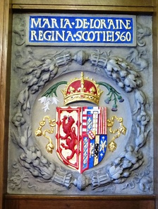 Mary's coat of arms showing Scotland impaled with Lorraine in South Leith Parish Church.