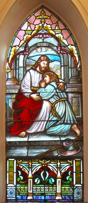 Stained glass of Jesus leaving his mother in a Lutheran Church, South Carolina.