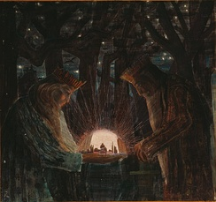A 1909 illustration of kings in a dark forest