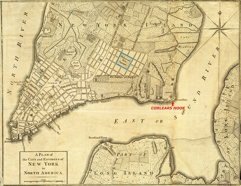 "Corlears Hook (red arrow) is ""Crown Point"" in this British map of 1776; ""Delaney's [sic] New Square"" (blue square northwest of Corlears Hook) was never built"