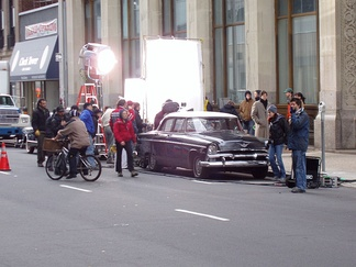 Film production on location in Newark, New Jersey, April 2004.