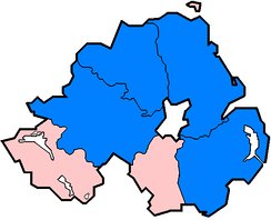 Non-administrative counties in Northern Ireland affected in June and July 2007 floods as of 24 July (marked in blue).