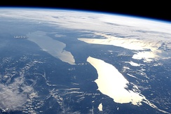 The Finger Lakes are in the center bottom of this west facing image; Lake Erie (upper left), Lake Huron (upper right), and Lake Ontario (lower right) are three of the Great Lakes