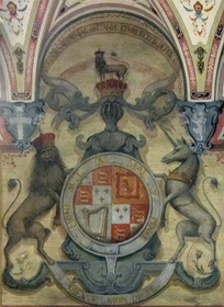 Coat of arms of The Young Pretender (Royal Arms of England) in the Palazzo di San Clemente in Florence