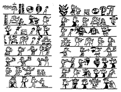 1510 Taíno pictograph telling a story of missionaries arriving in Hispaniola