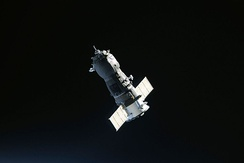 Progress spacecraft approaches the ISS during the aborted docking attempt on 2 July 2010.