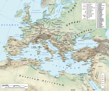 Map of the Roman empire and contemporary indigenous Europe in AD 125, showing the location of the Heruli on the Danish islands.