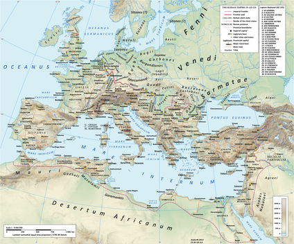 The Roman empire under Hadrian (ruled 117–138), showing the location of the Chatti in central Germany.