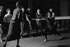 Students take a lesson in fencing in 1944
