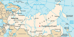 Approximate location of the Tunguska event, in Siberia.