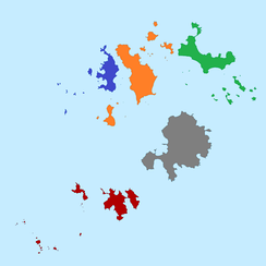 The five wards (which are also the civil parishes) of the Isles of Scilly; red is St Agnes, blue is Bryher, orange is Tresco, green is St Martin's, and grey is St Mary's.
