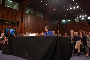 Sonia Sotomayor testifying before the Senate Judiciary Committee on her nomination for the United States Supreme Court