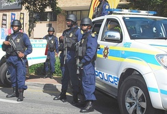 Officers of the South African Police Service in Johannesburg, 2010.