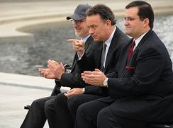 Hanks with Steven Spielberg at the National World War II Memorial in March 2010