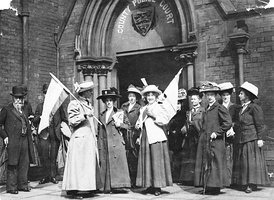 British suffragettes demonstrating for the right to vote in 1911