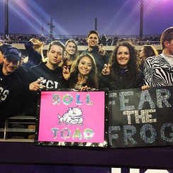 TCU students supporting the Horned Frogs against Kansas St on 11/8/14