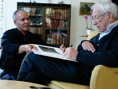 Nobel Prize Swedish winning poet and translator Tomas Tranströmer signs a book about his work by Modhir Ahmed (2007)