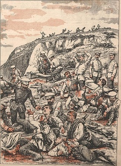 After the Battle of Liaoyang: Transport of wounded Russians by the Red Cross (Angelo Agostini)