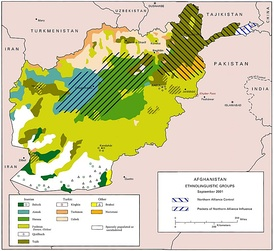 Ethnolinguistic groups of Afghanistan as of 2001