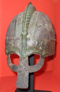 A Vendel-era helmet, at the Swedish Museum of National Antiquities