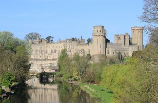 Warwick Castle, traditionally the seat of the Earls of Warwick, on the River Avon