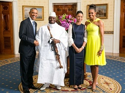 Yahya Jammeh and Mrs. Zeineb Jammeh with Barack and Michelle Obama in the White House, August 2014