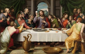 The Eucharist has been a key theme in the depictions of the Last Supper in Christian art,[9] as in this 16th-century Juan de Juanes painting.