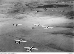 B-25 Mitchell bombers from No. 18 (NEI) Squadron RAAF on a training flight near Canberra in 1942
