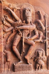 Dancing Shiva Nataraja at the 6th century Badami cave temples.