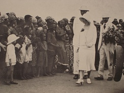 King Albert I and Queen Elisabeth inspect the military camp of Léopoldville during their visit to the Belgian Congo, 1928.
