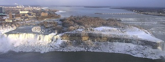 The American Falls with Goat Island to its right.